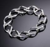 English brilliant-cut diamond bracelet, 18 kt. white gold, 2.75 ct.