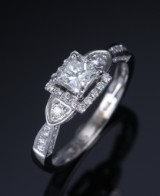 Solitaire ring, 14 kt. white gold, total approx. 1.28 ct. F-G/VS1