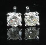 Earrings in 14k set with brilliant cut diamonds 0.80 ct