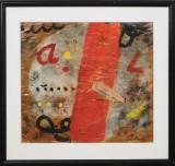 Ubekendt Kunstner, maleri/collage bag glas, komposition