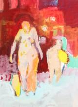 Erdmute Prautzsch, 'Mann, Frau, Gefäß'. Acryl und Collage