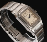 Cartier 'Santos' unisex watch, steel, pale dial with date