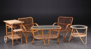 bambus møbler Slutpris för Bambusmøbler, to kurvestole, to borde bambus møbler