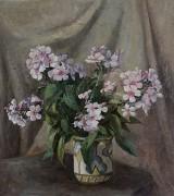 R. Jacobsen. Opstilling med blomster, olie på lærred