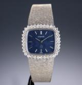 Eterna 'Lady'. Dameur i 18 kt. hvidguld med blå skive og brillanter, ca. 1970'erne