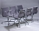 Charles Eames. Sæt på seks armstole, model EA-108, grå hopsak. (6)