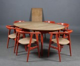 Hans J. Wegner. Dining table, model AT-326, with extension leaves and six GE-525 chairs (9)