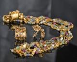Smykkesæt med collier og par øreringe, 18 kt. guld, med farvede sten (3)