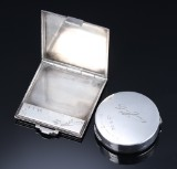 Georg Jensen. Powder compact and Pyramide pill box, sterling silver. Dated 1935 with Georg Jensen signature (2)