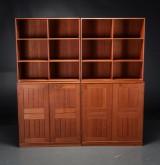 Mogens Koch. Group of shelving cabinet modules, teak (6)