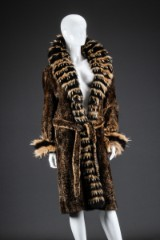 Coat, shaved/stained mink edged with raccoon fur, size 38/40