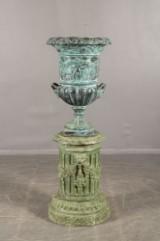 Large metal urn and pedestal (2)