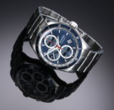 Eberhard & Co. 'Champion V'. Herrechronograf i stål med blå skive, 2010'erne