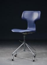 Arne Jacobsen, 3103, T-stol, kontorstol, læder