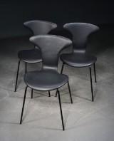 Arne Jacobsen, Munkegaard chairs, black leather (3)