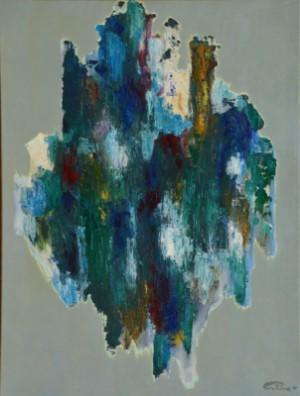 Poul Friis. Komposition, akryl på lærred - Dk, Kolding, Trianglen - Poul Friis (f.1938). Komposition, akryl på lærred, sign., samt samt dateret 2017. 80x60 cm. U.R. - Dk, Kolding, Trianglen