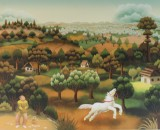 Ivan Generalic, coloured print, landscape with horse and farmer