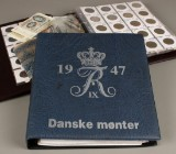 Mønter, medaljer og sedler  - Danmark m.fl.