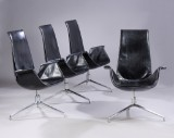 Preben Fabricius and Jørgen Kastholm. A set of four 'Tulip' lounge chairs, model FK 6725, black leather (4)