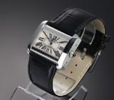 Cartier 'Devan'. Ladies watch, steel with pale guilloche dial
