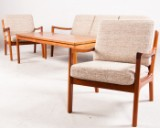 Ole Wanscher, sofa and pair of chairs model Senator 166 in teak for Cado, plus coffee table by Cado (4)