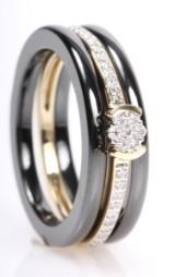 Ceramic Collection. Samlering m/ diamanter, 14 kt guld (3)