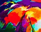 Gönül Sen-Menzel, akrylmaleri, 'Landschaft I'