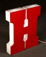 Illuminated advertising letter 'H' with LEDs