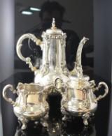 Mokkaservice af sølv i rokokostil (3)