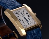 Cartier 'Tank Francaise Chronograph'. Men's watch, 18 kt. gold, with pale dial, 2000s