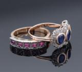 To Italienske vintageringe hhv med rubin og safir med diamant