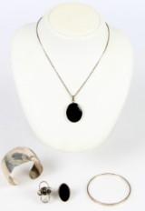 Armringe, onyx smykker mm af sterling sølv (6)
