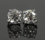 Earrings, 18k gold, with diamonds, 2.01 ct, IGI certificate