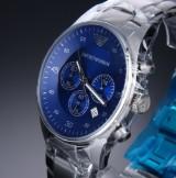 Armani 'AR5860'. Herrechronograf i stål med blå skive