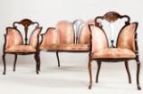 Art Nouveau salon suite. Two armchairs and one canapé (3)