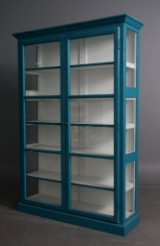 Display cabinet, blue antique paint finish