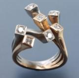 Ruben Svart. Manhatten ring, 18 kt. red, white and yellow gold with diamonds
