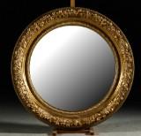 Spegel, guldfärgad ram, Ø 100 cm