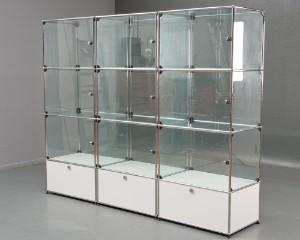 ware 3090875 usm haller freistehendes regalsystem mit drei glasvitrinen 3. Black Bedroom Furniture Sets. Home Design Ideas