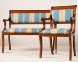 Bænk med lænestol, mahognifarvet lakeret (2)