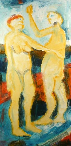 Max Müller, olie på lærred, Adam & Eva - De, Düsseldorf, Völklinger Straße - Max Müller (f. 1946), olie på lærred, 'Adam & Eva'. Signeret og dateret til højre: '07'. Mål ca.: H. 155 cm, B. 75 cm. - De, Düsseldorf, Völklinger Straße
