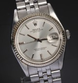 Rolex Datejust. Vintage men's watch, steel with silver-coloured dial, c. 1971