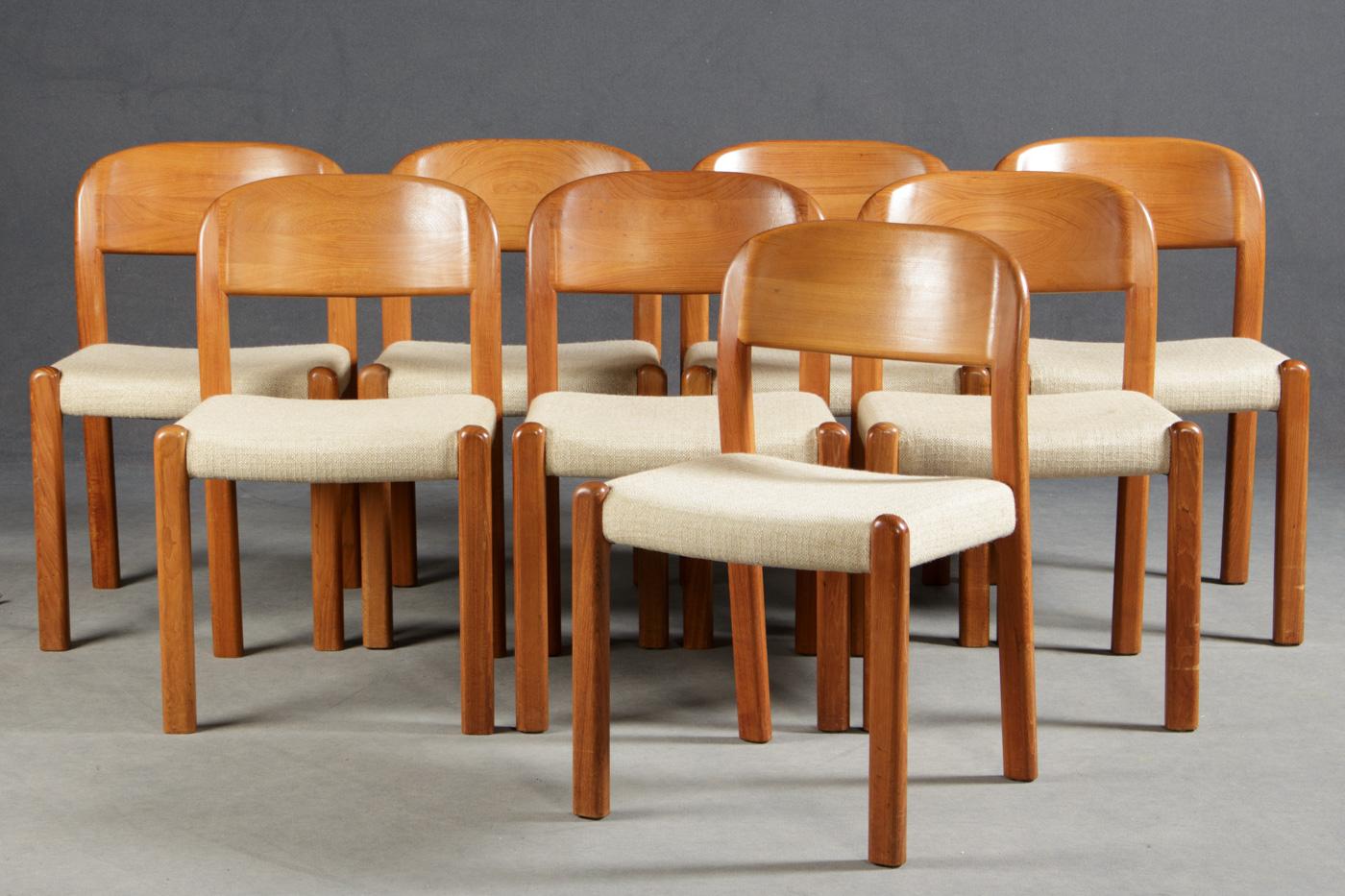 Auktionstipset - EMC Stühle (8), Teakholz/Stoff, EMC mobler aps