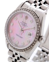 Rolex 'Datejust'. Unisex watch, steel with mother of pearl dial set with diamonds, c. 1984