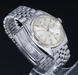 Rolex 'Datejust'. Vintage men's watch, steel with silver-coloured dial, c. 1963