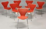 Arne Jacobsen. Seven dining chairs, wool, Fritz Hansen (7)