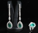 18kt handmade diamond and emerald earrings and ring set approx. 4.28ct