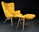 The Furn Company. Lounge chair and stool, wool upholstery