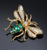 Insect brooch, 18 kt. gold with diamonds and enamel