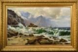 Laurits B. Holst, oil on canvas, coastal landscape